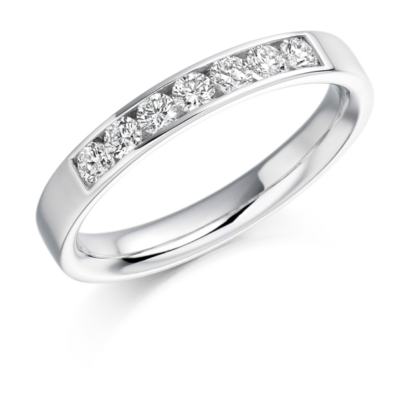 Platinum 7 Stone Channel Set Diamond Band .35ct