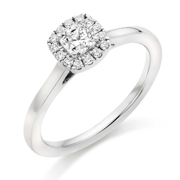 Platinum Cushion Halo Cluster Ring .45ct|Johnsons Jewellers