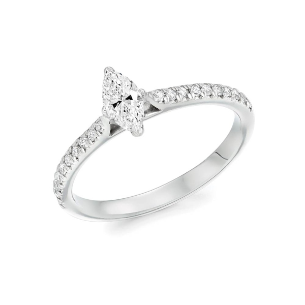 Platinum Marquise Diamond Engagement Ring with Diamond Shoulders .49ct