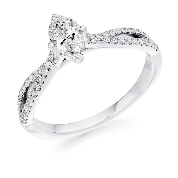 Platinum Marquise Diamond Ring with Twisted Shoulders .75ct