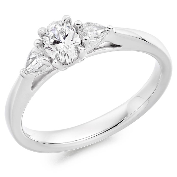 Platinum Oval and Pear Shaped Diamond Three Stone Ring .50cts