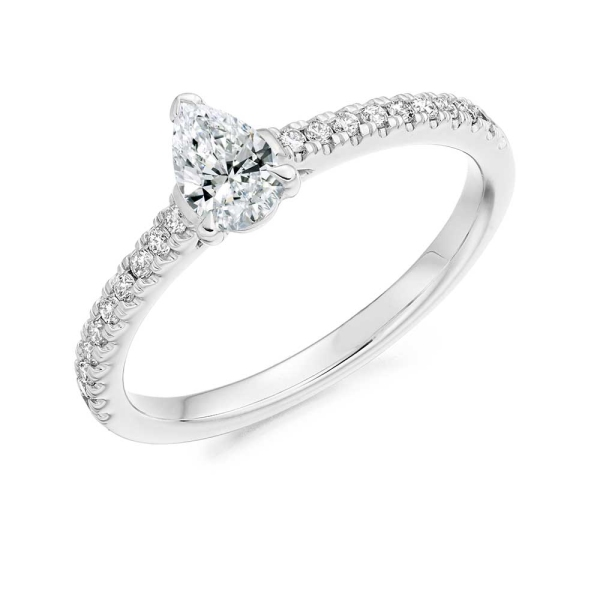 Platinum Pear Shaped Diamond Engagement Ring.55ct