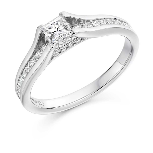 Platinum Princess Cut Engagement Ring With Princess Channel Band .85c