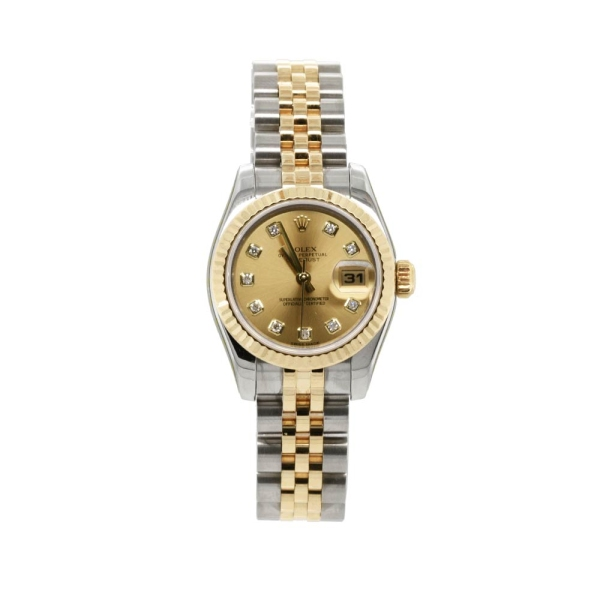 Pre Owned Ladies Rolex S & Y Datejust 26mm Champagne Diamond M179173