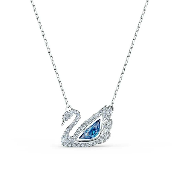 Swarovski Blue and White Crystal Dancing Swan Necklace 5533397