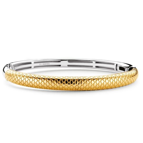 Ti Sento Silver  and Yellow Plated Snake Design Bangle 2906SY