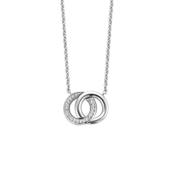 Ti Sento Silver and CZ Set Entwined Circles Necklace 3915ZI