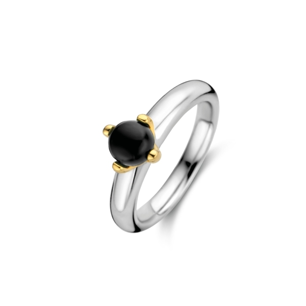 Ti Sento Silver and Gold Plated Black Ball Ring 12126BO