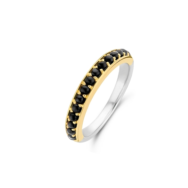 Ti Sento Silver and Gold Plated Black CZ Dress Band12123BO