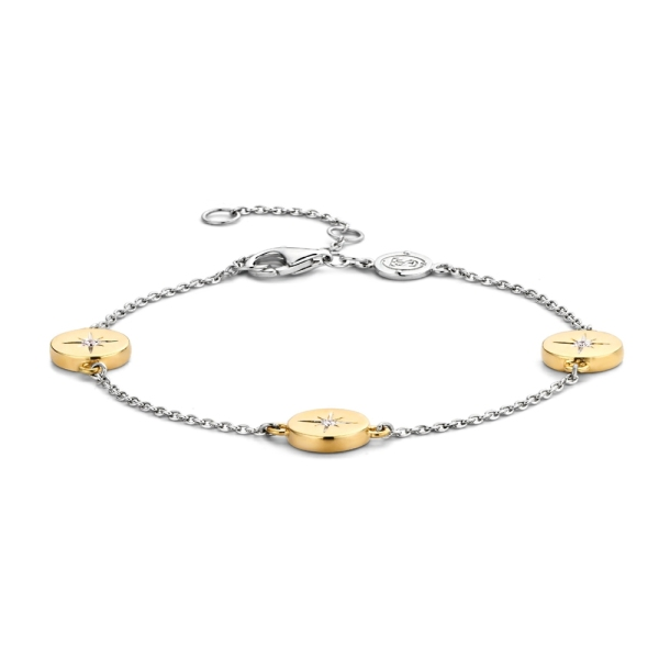 Ti Sento Silver and Gold Plated CZ Disc Bracelet 2941ZY