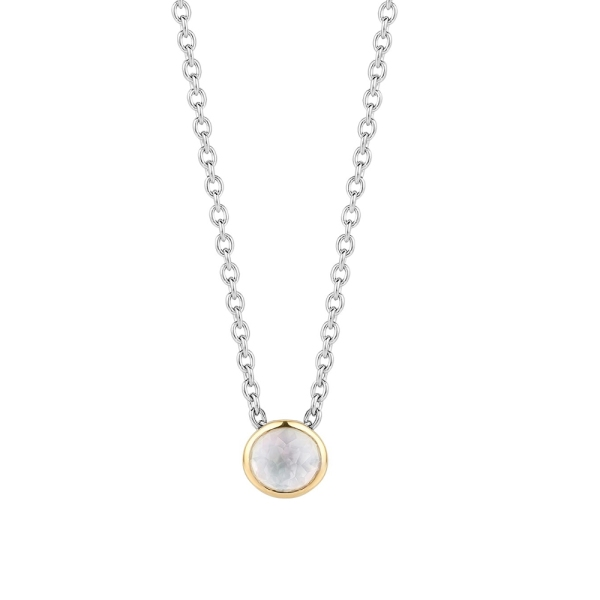 Ti Sento Silver and Gold Plated White MOP Pendant 3845MW