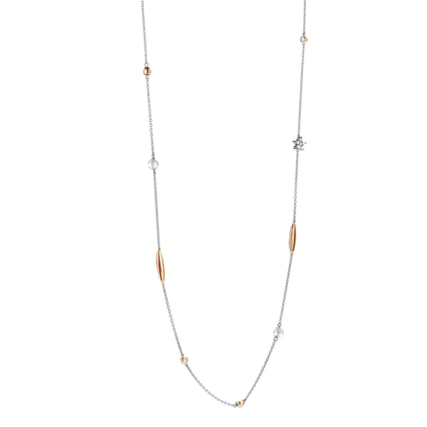 Ti Sento Silver and Rose Plated CZ Station Necklace 3941ZR/90