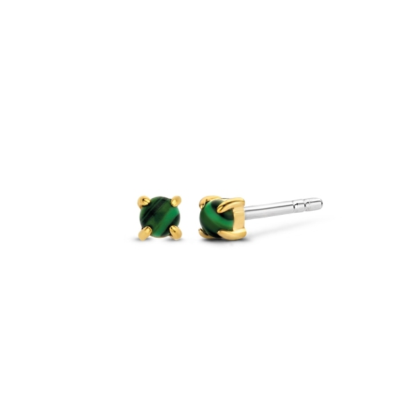 Ti Sento Silver and Yellow Gold Malachite Coloured Stud Earrings 7833MA