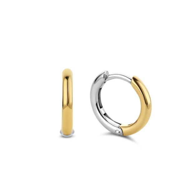Ti Sento Silver and Yellow Plated 14mm Hoop Earrings 7812SY