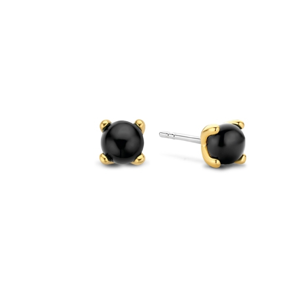 Ti Sento Silver and Yellow Plated Black Domed Studs 7768BO