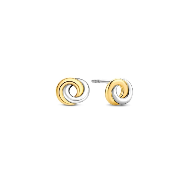 Ti Sento Silver and Yellow Plated Entwined Circle Stud Earrings 7784SY