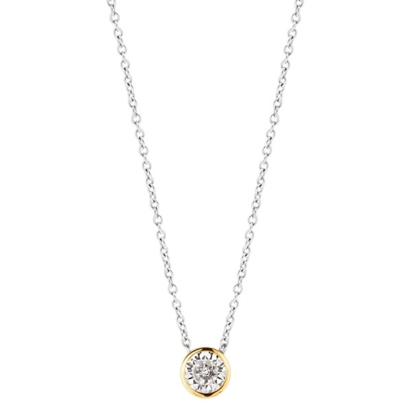 Ti Sento Silver and Yellow Plated Single Round CZ Necklace 3845ZY