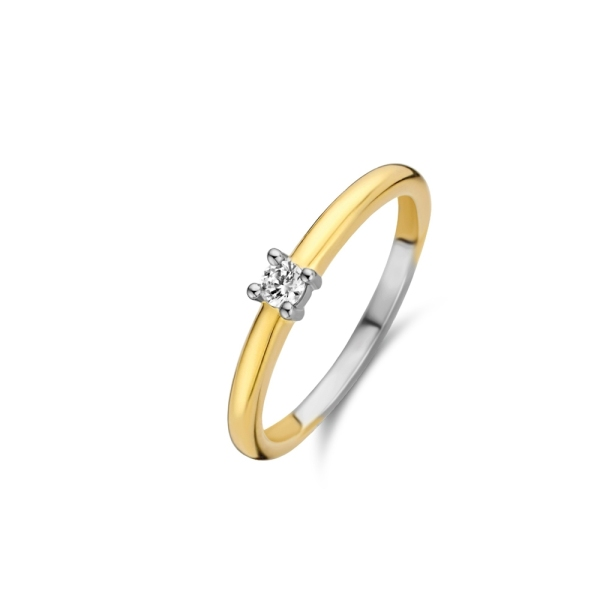 Ti Sento Silver and Yellow Plated Single Zirconia Ring 12211ZY