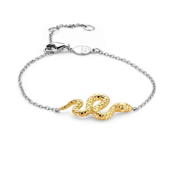 Ti Sento Silver and Yellow Plated Snake Bracelet 2904SY
