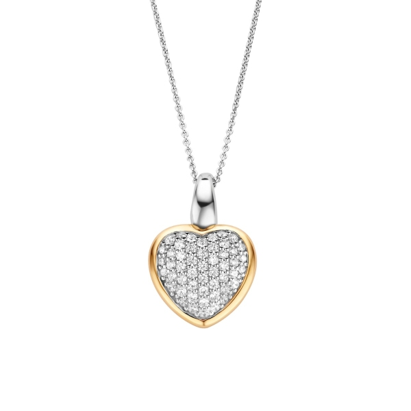 Ti Sento Silver and Yellow Gold Plated CZ Heart Pendant and Chain 6801ZY