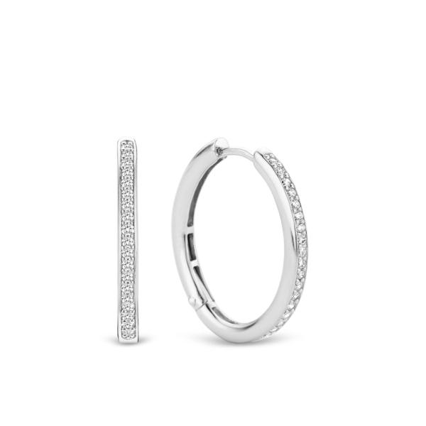 Ti Sento Silver Oval CZ Hoop Earrings 7789ZI