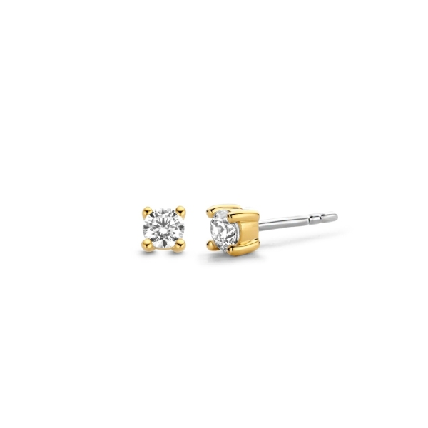 Ti Sento Silver with Gold Plated CZ Claw Stud Earrings 7836ZY