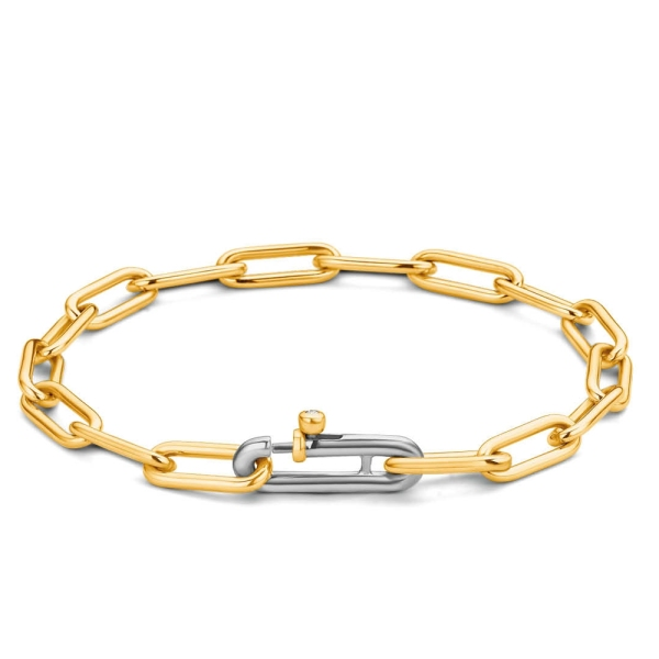Ti Sento Silver with Gold Plated Finish Oval Link Bracelet 2936SY