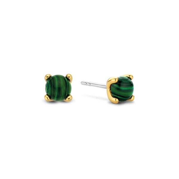 Ti Sento Silver with Gold Plated Malachite Claw Studs 7768MA