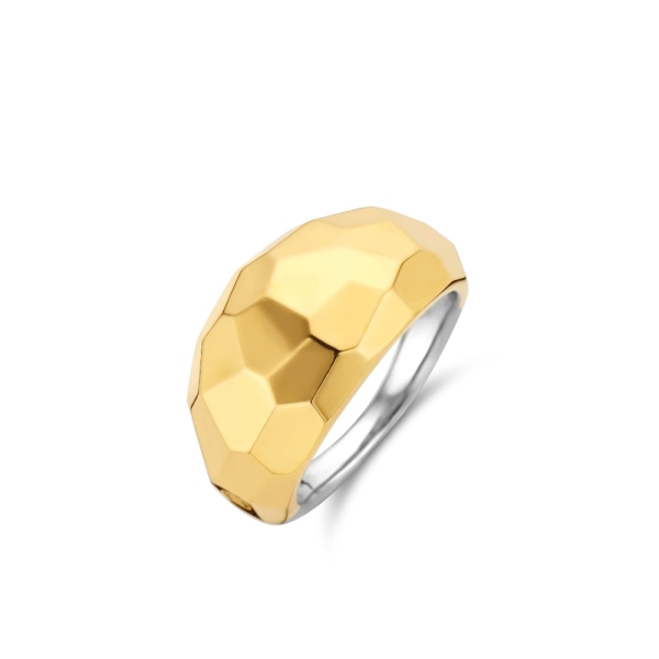 Ti Sento Silver with Gold Plating Faceted Domed Ring 12200SY