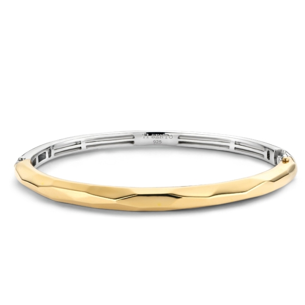 Ti Sento Silver with Yellow Gold Plated Faceted Bangle 2942SY