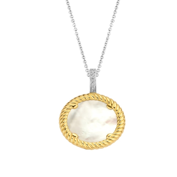 Ti Sento Silver with Yellow Plated Mother of Pearl Disc Pendant 6784MW