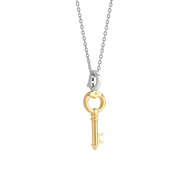 Ti Sento Small Silver/Gold Plated Key Pendant With Chain 6775SY