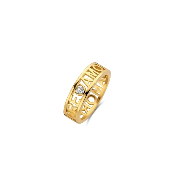 Tisento Silver & Yellow Gold Plate Wide Lined Patterned Ring - 12227SY/54