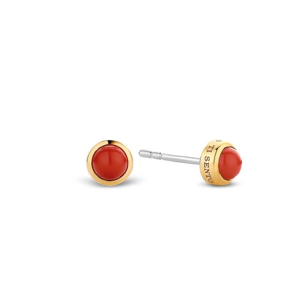 Ti Sento Yellow Plated Red Stone Stud Earrings 7597CR
