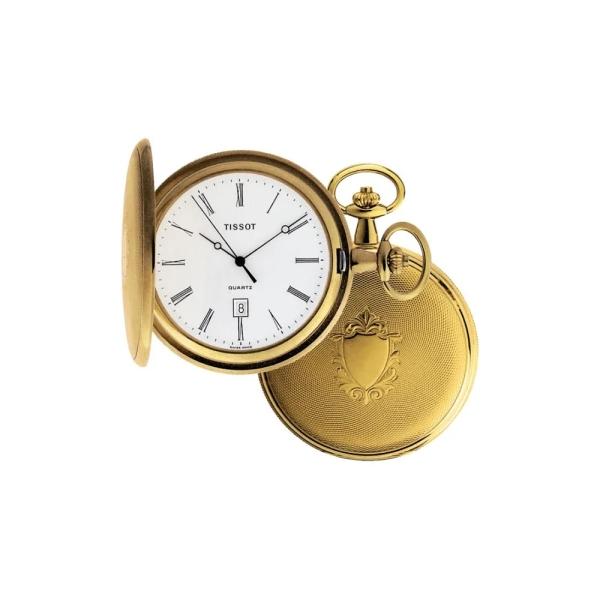 Tissot Savonette Brass Pocket Watch with Chain T83450813