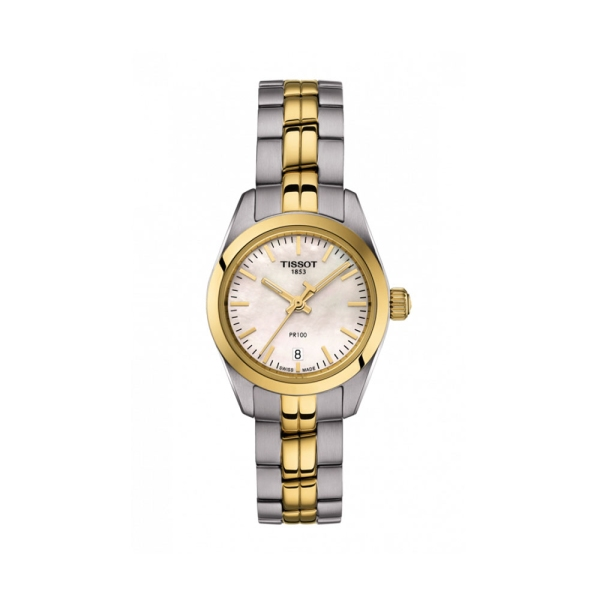 Tissot Steel and Yellow PR100 MOP Dial T1010102211100