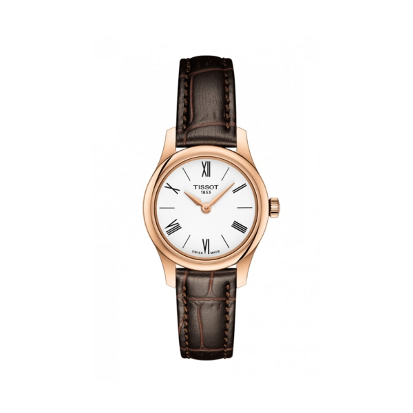 Tissot Tradition Rose Plated White Dial Strap Watch T0630093601800