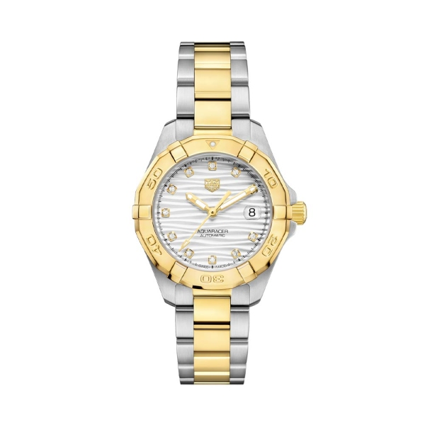 TAG Heuer Aquaracer 32mm Two Tone Silver Dial Watch WBD2321.BB0320