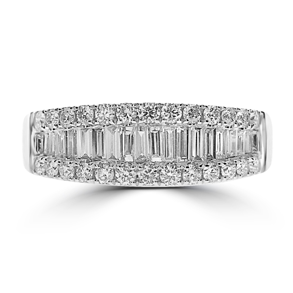 18ct White Gold Baguette and Brilliant Dress Band 1.01ct