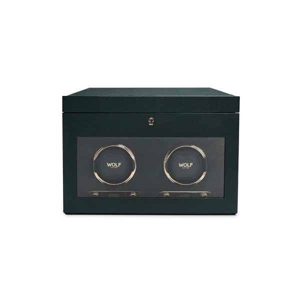 Wolf Racing Green Double Watch Winder with Storage 792241