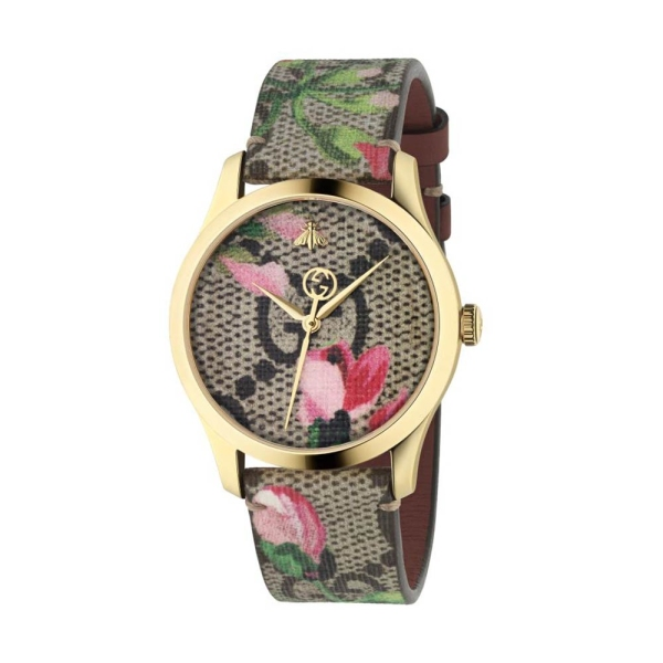Gucci Timeless 38mm Flower Dial Strap Watch YA1264038A