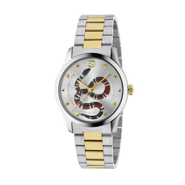 Gucci Timeless Two Tone Snake Dial Bracelet Watch YA1264075