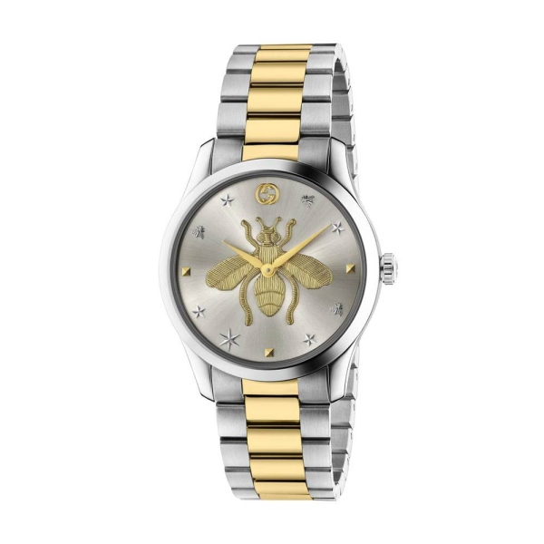 Gucci Timeless Two Tone 38mm Silver Bee Dial YA1264131