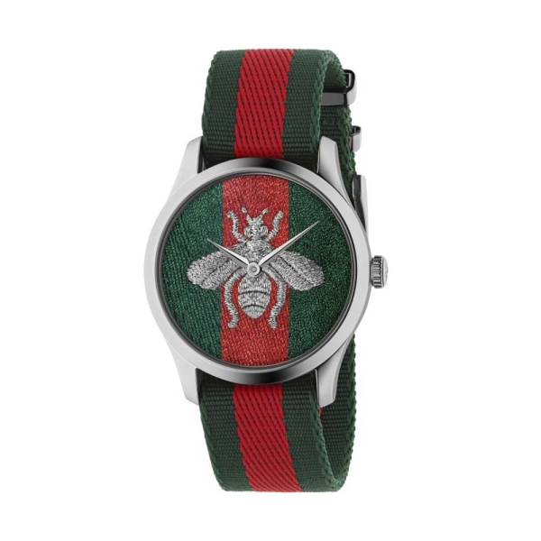 Gucci Timeless Bee Green and Red Dial Strap Watch YA1264148