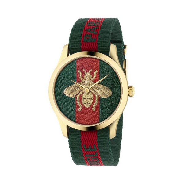 Gucci Timeless 38mm Green & Red Strap Watch YA126487A