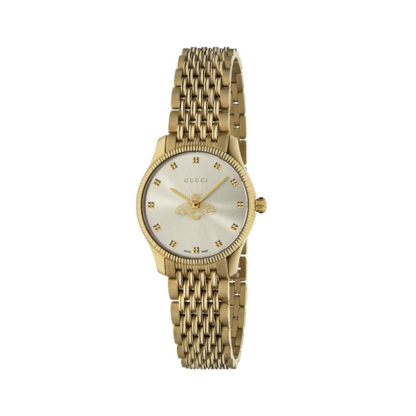 Gucci G-Timeless Yellow Plated Watch with Silver Dial YA1265021