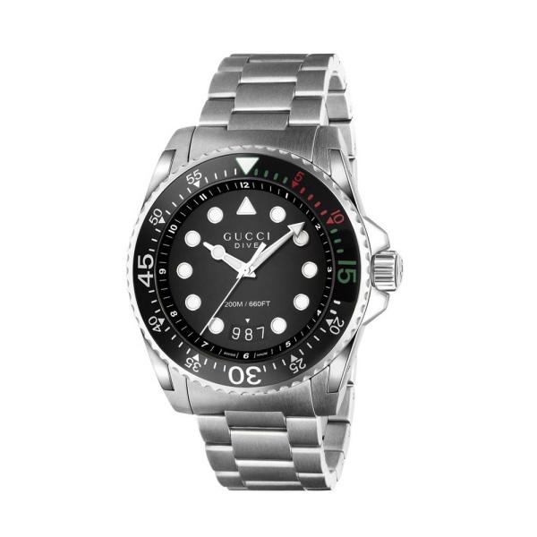 Gucci Dive 45mm Black Dial Bracelet Watch YA136208A