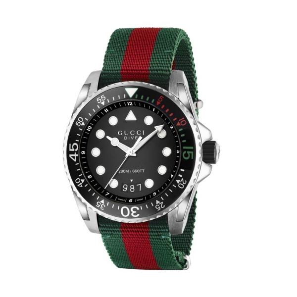 Gucci Dive XL 45mm Black Dial Strap Watch YA136209A