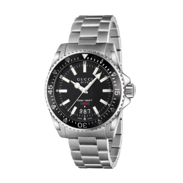 Gucci Dive 40mm Black Dial Bracelet Watch YA136301A