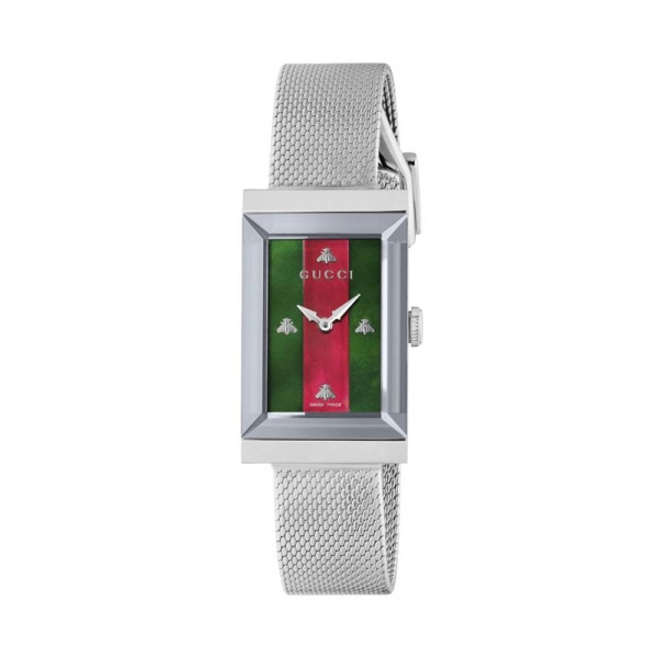 Gucci G Frame Red & Green Dial Bracelet Watch YA147401